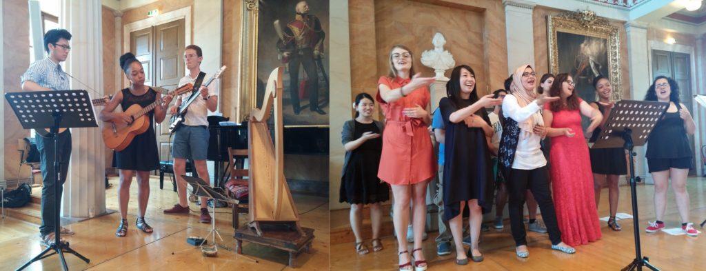 Der Sommer-Chor präsentiert Lieder bei der Zeugnisübergabe.